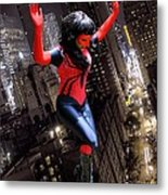 Spider Gal Leaping Metal Print