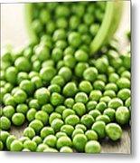 Spilled Bowl Of Green Peas Metal Print