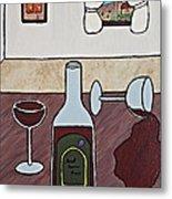 Essence Of Home - Spilt Glass Of Wine Metal Print