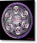 Spinning Celtic Skulls In Purple Metal Print