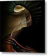 Spiral Staircase In Green And Red Metal Print