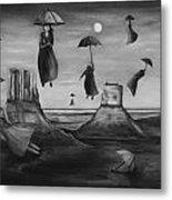 Spirits Of The Flying Umbrellas Bw Metal Print