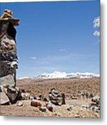 Spiritual Cairn In The Peruvian Altiplano Metal Print