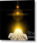 Spiritual Healing Light In Cupped Hands On Black Metal Print