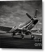 Spitfire In Black And White Metal Print