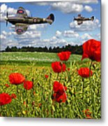 Spitfires And Poppy Field Metal Print