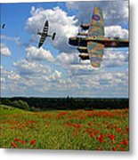 Spitfires Lancaster And Poppy Field Metal Print