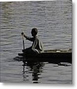 Splashing In The Water Caused Due To Kashmiri Man Rowing A Small Boat Metal Print