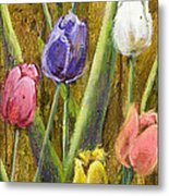 Splashy Tulips II With Gold Leaf By Vic Mastis Metal Print