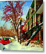 Splendor And Colors Of Quebec Winters Verdun Montreal Urban Street Scene Carole Spandau Metal Print