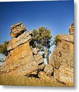 Split Rocks With Woman Metal Print