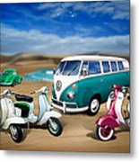 Splitty Vw Beetle And Scooters Metal Print