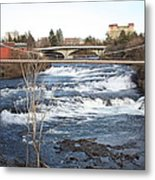 Spokane Falls In Winter Metal Print