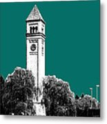 Spokane Skyline Clock Tower - Sea Green Metal Print by DB Artist