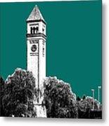 Spokane Skyline Clock Tower - Sea Green Metal Print