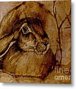 Spooked Hare Metal Print