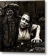Zombie Lady Sepia Metal Print