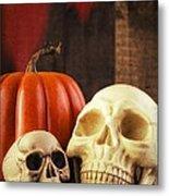 Spooky Halloween Skulls Metal Print by Edward Fielding
