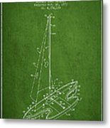 Sport Sailboat Patent From 1977 - Green Metal Print