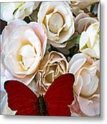Spray Roses And Red Butterfly Metal Print