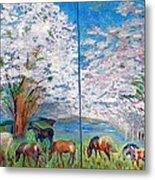 Spring And Horses Metal Print by Vicky Tarcau