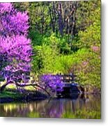 Spring Blossoms On Lake Marmo Metal Print