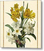 Spring Bouquet Of Daffodils And Narcissus With Butterfly Vertical Metal Print