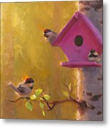 Spring Chickadees 1 - Birdhouse And Birch Forest Metal Print