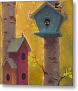 Spring Chickadees 2 - Birdhouse And Birch Forest Metal Print