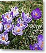 Spring Crocus With Scripture Metal Print