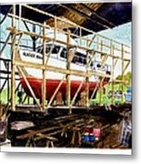 Yacht Glacier Bear Hauled Out In Gig Harbor Metal Print
