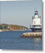 Spring Point Ledge Lighthouse On The Maine Coast Metal Print