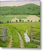 Spring Rabbit Metal Print