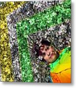 Spring Rainbow And Girl Metal Print