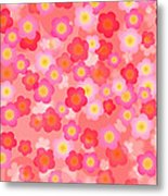 Spring Time Cherry Blossom Seamless Tile Background Metal Print