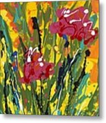 Spring Tulips Triptych Panel 3 Metal Print