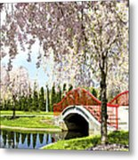 Spring Walk Around Lake Metal Print
