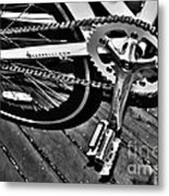 Sprocket And Chain - Black And White Metal Print