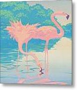 Square Format - Pink Flamingos Retro Pop Art Nouveau Tropical Bird 80s 1980s Florida Painting Print Metal Print