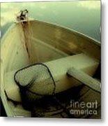 Square Polaroid Fishing Boat Metal Print