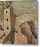 Square Tower House Closeup On Chapin Mesa Top Loop Road In Mesa Verde National Park-colorado Metal Print