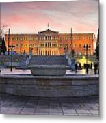 Square With A Fountain Metal Print