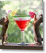 Squirrels At Cocktail Hour Metal Print