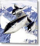 Sr-71 Over Snow Capped Mountains Metal Print