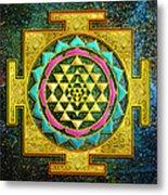 Sri Yantra Gold And Stars Metal Print