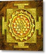 Sri Yantra Gold Stone Metal Print