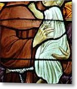 St Anthony In Stained Glass Metal Print