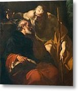St. Benedict And A Hermit Metal Print