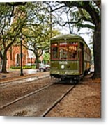 St. Charles Ave. Streetcar In New Orleans Metal Print