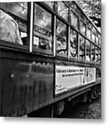 St. Charles Ave Streetcar Whizzes By-black And White Metal Print